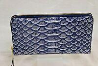Brahmin Cruz Collection Skyler Travel Wallet Wristlet Demin Blue L94 1562