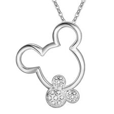 """925 Sterling Silver MICKEY MINNIE MOUSE EARS NECKLACE CUBIC CZ 18""""N129"""