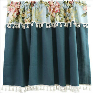 Small Short Curtains Window Blackout Printed Kitchen Cabinet Door Cafe Drapes