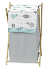 Kids Baby Clothes Laundry Hamper For Turquoise Blue Gray Earth Sky Bedding Set