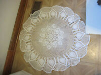 "Vintage White Crocheted  Doily Pineapple Design 34"" Round"