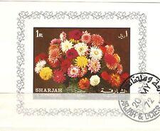 Q7063 - SHARJAH - 1972 -BLOCCO FOGLIETTO FIORI 1 RL - VEDI FOTO