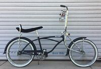 """Lowrider Dragster Bike 20"""" Complete Kit Bicycle Matte Black and Chrome"""