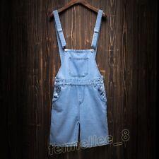 Men Boys Denim Casual Slim Overall Shorts Jeans Suspender Pants Jumpsuits Romper