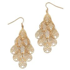 PalmBeach Jewelry Yellow Gold Tone Filigree Chandelier Earrings