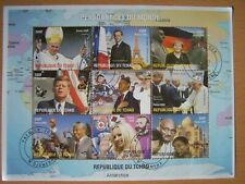 REPUBLIC OF TCHAD,FAMOUS PEOPLE SHEETLET OF 9 STAMPS,USED,NICE.