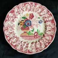 "Royal Doulton Pomeroy Red Set of 8 Salad Plates 8 3/8"" Vintage"