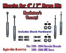 "Shock Kit for 99 - 06 Silverado Sierra w/ Spindles Drop Coils Flip Kit  4"" / 7"""