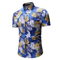 Dress shirt floral t-shirt luxury summer men's slim fit stylish short sleeve