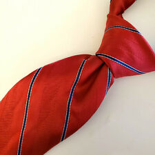 """TOMMY HILFIGER Mens Classic Tie Red and Navy Stripes Silk  60"""" L x 3.75"""" W"""