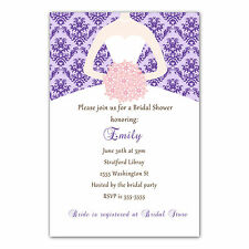 30 Damask Invitation Cards Purple Pink Dress Bridal Shower Personalized A1