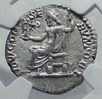 SEPTIMIUS SEVERUS Ancient 197AD Rome Silver Roman Coin JUPITER NGC i81161