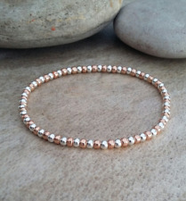 Rose Gold Sterling Silver Seed Beaded Stacker Stretch Bracelet Heart Star Charm