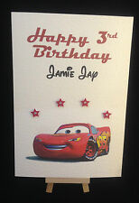 Personalised & Hand Made Disney Cars Lightning McQueen Birthday Card Grandson