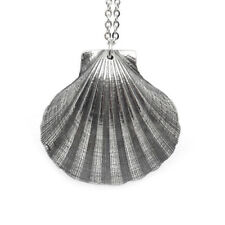 Scallop Sea Shell Necklace, Handmade Nature Beach Pendant Jewelry in Pewter