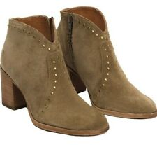 New Frye Nora Suede Studded Leather Boots Size 6 Olive Sand Color Block Heel