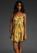 Anthropologie TIBI Yellow S 4 Paisley Silk Strapless Party Formal Bubble dress