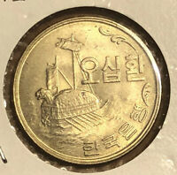 1959 KE 4292 Korea 50 Hwan UNCIRCULATED Turtle Boat COLLECTIBLE Coin KM#2