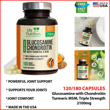 Glucosamine Chondroitin w/Turmeric & MSM 2100mg Highest Potency Joint Relief NEW