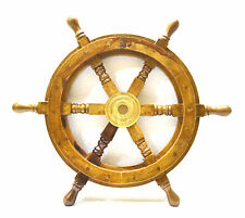 Vintage Brass Hub Ship/Boat Steering Wheel Wood Pirate Nautical Fishing Maritime