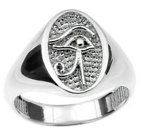 Sterling Silver Eye of Horus Ring Egyptian Symbol Protection Royal Power Health
