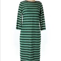 EVA MENDES NY&Co Green Sequin 3/4 Sleeve Fitted Stripe Sweater Midi Dress L New