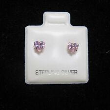 4mm a Forma di Cuore Rosa Zircone Cubico Argento Borchie