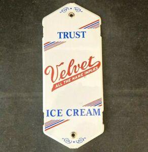 Vintage VELVET ICE CREAM PORCELAIN DOOR PALM PUSH PULL Rare Old Advertising Sign