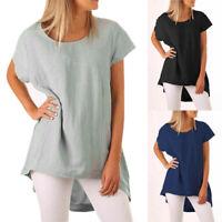 Women Summer Cotton Linen O Neck Blouse Short Sleeve T Shirt Casual Loose Top AU