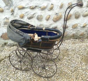 Ancien landau pour poupee a restaurer époque 1900 déco jouet ancien