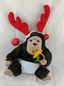 "Russ Bungo Monkey Ape Plush Baby Diaper Pacifier 14"" Caress Soft Pets Stuffed"