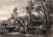 FARM AT LACKEN 1854 Peter Paul Rubens - Arthur Willmore ANTIQUE ENGRAVING