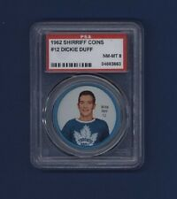 1962-63 Shirriff Coins Dick Duff #12 Graded PSA 8 NM-MT Toronto Maple Leafs!!