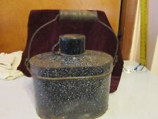 Antique Graniteware Miners 4 Pc. Cobalt Blue/White Speckled Lunch Pail w/Handle