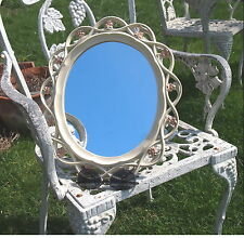 VINTAGE ORNATE SYROCO FLOWER SCALLOPED WALL MIRROR SHABBY COTTAGE CHIC WALL DESK