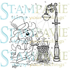 Stampavie A VICTORIAN WINTER Laurence Collection Clear Stamp Puppy Street Light