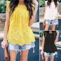 ZANZEA Women Cotton Tank Tops Summer Sleeveless Cami Camisole Blouse Shirt Tee