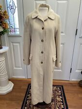 Vintage Denise Originals 100% Pure Chinese Cashmere Ivory Trench Coat Pockets