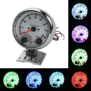 3.75'' Racing Tachometer Gauge Tacho Meter 7 Color LED Shift Light 0-8000 RPM