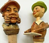 Vintage Anthropomorphic Articulated Caricature Cork Bottle Stopper German Lot 2