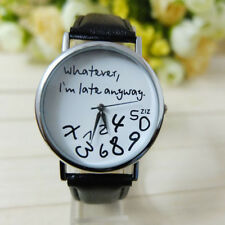 Hot Women Leather Watch Whatever I am Late Anyway Letter Watches Black