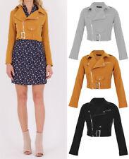 New WOMEN Faux SUEDE Side Zip Crop CLASSIC Ladies Belted BIKER JACKET Coat 8-16