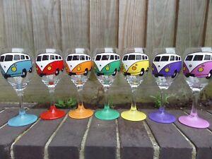 Hand Painted Wine or pint Glass VW Camper Van Split Screen/bay personalised gift