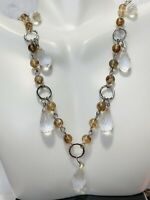 1900's Vintage Ann Taylor Loft Clear Topaz Marriage Beaded Silver Tone Necklace