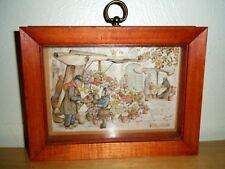 Vintage Anton Pieck Flower Cart Vendor 3-D Art Framed Wall Hanging