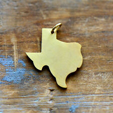 Texas State Charm - Brushed 24k Gold Plated Stainless Steel Pendant - Minimal