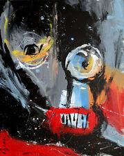 original HUGHART abstract outsider gothic folk punk pop art painting NEIGHBORLY