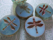 Czech Glass Dragonfly Coin Beads 17mm Round Aqua Blue Opaline Brown Picasso Rims