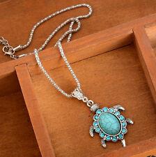 Cute Turtle Pendant Necklace Women Turquoise Rhinestone Retro Jewelry