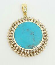 Vintage 18k Yellow Gold Natural Diamond & Turquoise Cluster Pendant 11.73TCW